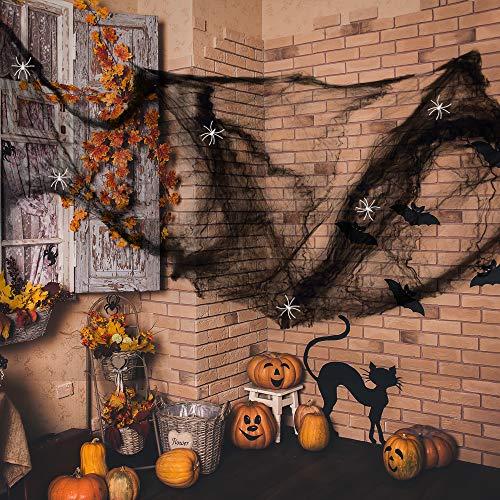 Anear Schwarz Spinnweben Halloween Spinnennetz Accessoires Party Deko mit 25 Stück Weiß ()