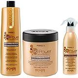 Kit Echos Line Ki Power Keratinic Molecular Reconstruction: Shampoo 1 Lt FASE 1, Leave in Spray 250 Milliliter FASE 2, Mask 1