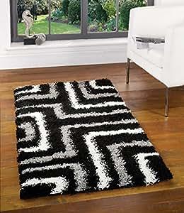 """Quality Shaggy Rug in Black & Grey 60 x 110 cm (2' x 3'7"""") Carpet"""
