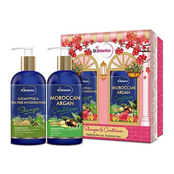StBotanica Eucalyptus & Tea Tree Oil Hair Repair Shampoo + Moroccan Argan Hair Conditioner, 300ml