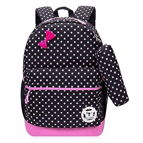Greeniris Niedlich Kinder Rucksack Kindergartentasche Baby Kinder Mädchen Schultasche mit Mäppchen 2 Stück Set Schwarz
