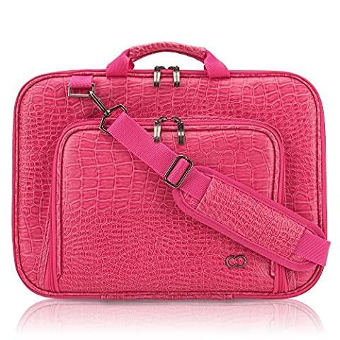 13 Inch MacBook Pro / Air CaseCrown Alligator Messenger Laptop Case with Memory Foam (Hot Pink) by CaseCrown