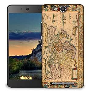 Snoogg World Map Designer Protective Back Case Cover For MICROMAX CANVAS JUICE 3 Q392