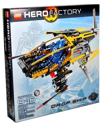 Lego Hero Factory Series Vehicle Set #7160 - DROP SHIP with Stealth Wings, Fins and Soft Exhaust Hoses Plus Pilot Figure (Total Pieces: 394) -