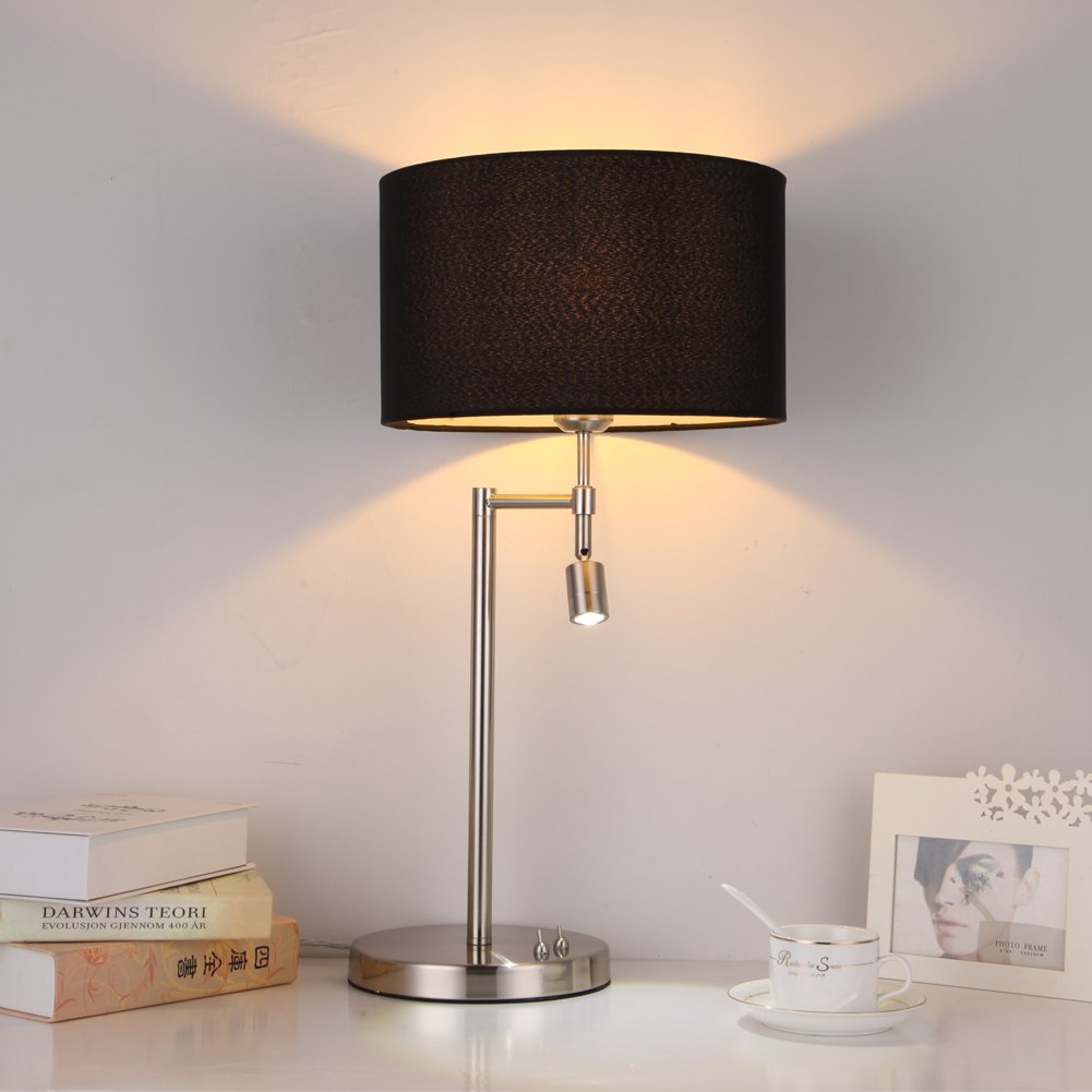 onepre modern chrome table lamps bedside lamp with swing arm led  - onepre modern chrome table lamps bedside lamp with swing arm led readinglight for bedroom living room cylinder black lampshade  switchesamazoncouk