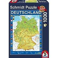 Schmidt Spiele Puzzle 58287 - Deutschlandkarte Puzzle, 1000 Teile