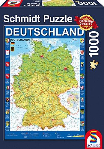 e 58287 - Deutschlandkarte Puzzle, 1000 Teile (Karte Puzzle)