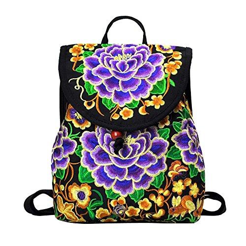OCHENTA Mädchen Rucksack Stickerei Retro Stil Taschen Farbe C