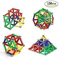 Ausear 136 Piezas Magnetic Sticks Building Block Toys, Children Intelligence Juguetes de aprendizaje y Brain Training Set para adultos y niños (mayores de 6 años) de Ausear