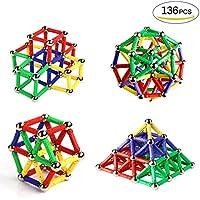 Ausear 136 Piezas Magnetic Sticks Building Block Toys, Children Intelligence Juguetes de aprendizaje y Brain Training Set para adultos y niños (mayores de 6 años)