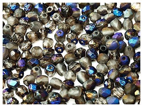 100 Stück Tschechische facettiert Glasperlen Fire-Polished Rund 4mm, Etched Crystal/Azuro Full - Polnischen Feuer Tschechische Glasperlen 4mm