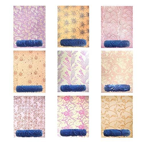 Fhouses 7 Zoll Wand Empaistic Malerrolle Farbrolle Werkzeug DIY Für Wand Dekoration Blumen Muster - Muster 8 (Farbroller Für Wand-dekoration)