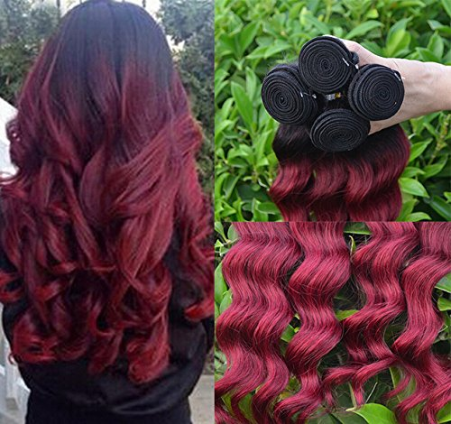 Romantic Angels® Remy Brésilien Ondulé Loose Wave-Cheveux Vierges 3 Bundles Hair Weft(14''16''18'') Couleur#1b/bordeaux