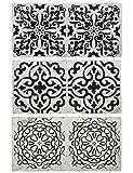 Ib Laursen - 3 Stück alte Fliesen länglich, verschiedene Muster, Wandfliesen oder Untersetzer, in Schwarz Weiss (1388-24)