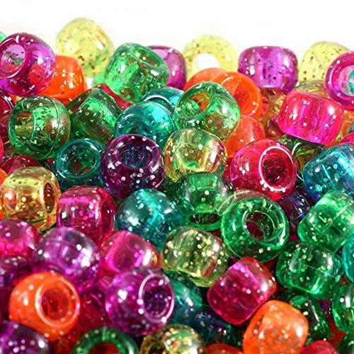 Pony Perlenfässer zum Basteln - 100 Stück - Haarperlen/Perlenweben/Kinderschmuck/Halsketten In 80 Farben erhältlich, Mix Jelly Sparkle, 9x6mm - Sparkle Jelly