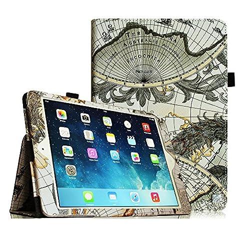 Fintie iPad mini 3 / iPad mini 2 / iPad mini Folio Slim Fit Vegan Leather Case with Smart Cover Auto Sleep / Wake Feature, Map Design