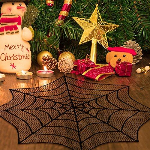 AerWo Mantel de encaje de Halloween Spiderweb 30 pulgadas de mantel redondo Cubierta de tabla negra Mini encaje de chimenea para Halloween Party Decoration