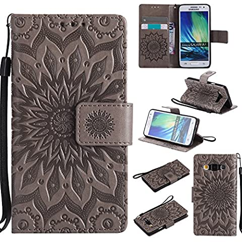 For Samsung Galaxy A3 Case [Gray],Cozy Hut [Wallet Case] Magnetic Flip Book Style Cover Case ,High Quality Classic New design Sunflower Pattern Design Premium PU Leather Folding Wallet Case With [Lanyard Strap] and [Credit Card Slots] Stand Function Folio Protective Holder Perfect Fit For Samsung Galaxy A3 2015 / SM-A300F 4.5 inch - gray
