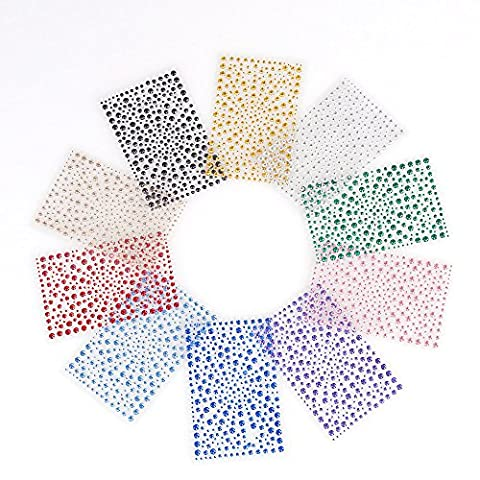 CCINEE 10 Sheets 3250 Pieces Crystal Diamond Adhesive Gem Stickers Rhinestone Stickers Crystal Stickers Self Adhesive For Scrapbooking Embellishments Crafts Making and Decoration.