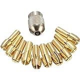 Bomcomi 11PCS / Set Brass Trapano Mandrini a Pinza Bits 0.5-3.2mm Sostituzione 4,3 Millimetri Gambo della Vite Dado per Dreme