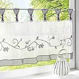 1Pc Sheer Voile Scheibengardine Elegantes Blumenmuster Stickerei Cafe Vorhänge für Küche Tab Top Panel Drapes