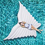 ZLYFA Giant Angel Wings Aufblasbare Pool Float Luftmatratze Liege Wasser Party Spielzeug Ride-on Schmetterling Schwimmring,White