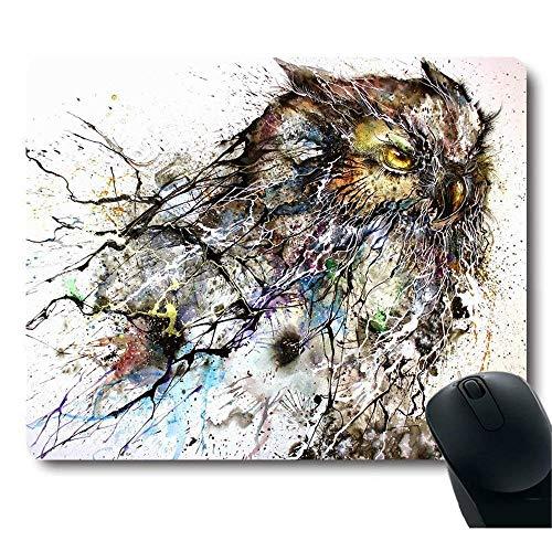ads Custom, Abstract Haboku Splash-Ink Night Owl Art Computer Gaming Mouse Pad ()