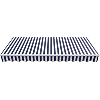 BIRCHTREE Garden Patio Awning Replacement Fabric Top Cover Front Valance Frill 2 x 1.5m AC01 Blue & White