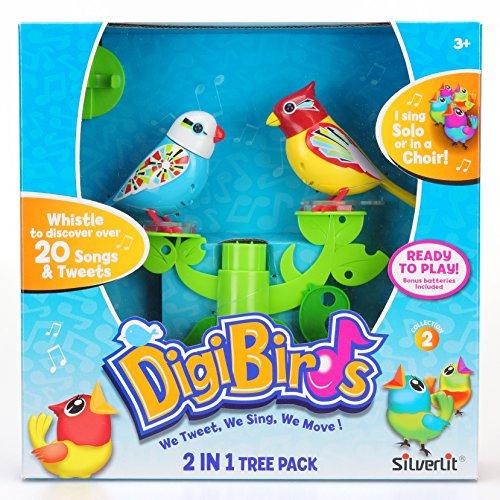 Silverlit 88239 - Digi Bird 2-in-1 Spielbaum, inklusiv 2 Vögeln, Elektronische Haustier