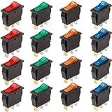 RUNCCI-YUN 16Pcs Boton Interruptor Rocker,Mini Interruptores Basculantes,16 A 250 V AC 3 Pines interruptor SPST para Auto Veh
