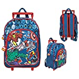 Marvel Comics kids trolley – upright suitcase with wheels and shoulder straps for kindergarten and primary school with Spider-man, Hulk and other Marvel Comics characters