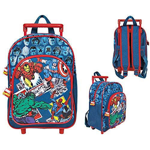 *Valise enfant Le monde de Marvel Comics- Sac à dos avec roues et bandoulières pour maternelle et école primaire, avec impression de Captain America, Iron Man, Hulk et Spiderman – 31 x 23,5 x 13 cm Meilleure offre de prix