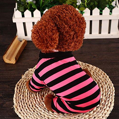 wlgreatsp Haustier klein Hund Fluoreszierender Streifen Kleidung Katze Welpe Weste-T-Shirt Unisex-Bekleidung (Streifen Rosa Snap)