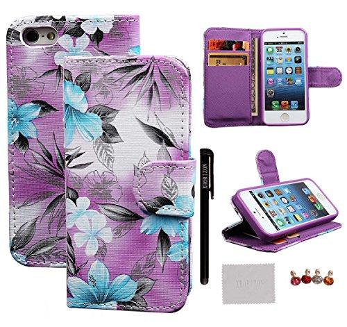xhorizon [Stand Funktion] [Brieftasche Funktion] [Magnetverschluss] Für Apple iPhone 5s iPhone 5 Kontrastfarbe Leder Dünn Brieftasche TelefonCase Hülle mit Kredit- / Visiten / ID-Kartenhalter und Bar #3