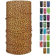 ebos Pañuelo multifuncional✓Braga de cuello| Bufanda multiusos | Bandana | Pañuelo de cuello | Pañuelo de cabeza | versátil e ingenioso | diferentes diseños (Leopardo marrón)