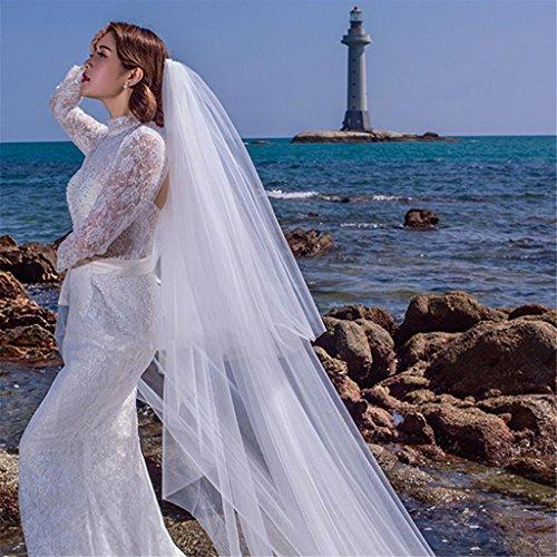 Vestito da cerimonia nuziale 3m europeo di alta qualità del merletto lunghi grandi code lungo morbido con il velare , a