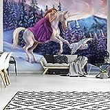 FORWALL Fototapete Tapete Prinzessin auf Dem Einhorn P8 (368cm. x 254cm.) Photo Wallpaper Mural AMF11682P8 Gratis Wandaufkleber Winter Märchen Einhorn Pferd Prinzessin Vogel