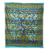 Tagesdecke Lebensbaum Bettüberwurf Überwurf Wandbehang Wandtuch Baumwolltuch Goa Tuch Indien 210x230 cm Baumwolle mehrfarbig Blau Grün Türkis Nr. 75