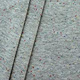 Baumwollstoff Bündchenstoff glatt Konfetti Meterware Grau