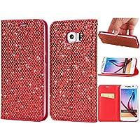 Sycode - Funda con tapa para Galaxy S6 Edge con purpurina, elegante y elegante funda con cierre magnético ultrafino, color morado brillante y brillante, piel sintética, estilo libro, interior de silicona, con ranuras para tarjetas y función atril, funda protectora para Samsung Galaxy S6 Edge, color morado, rojo