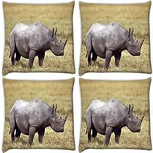 Snoogg Abstarct Rhino Pack Of 4 Digitally Printed Cushion Cover Pillows 18 X 18 Inch
