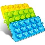 Senhai Silikon Molds 3er Packung Bonbons, Schokolade Formen EIS-Würfel-Behälter - Hearts, Stars & Muscheln, Spaß, Spielzeug für Kinder Set