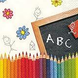 20 Servietten First School Day - Endlich Schule! / Schulanfang / Einschulung 33x33cm