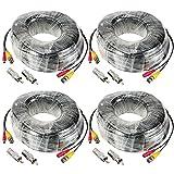 KKmoon Paquete 4Pcs 30m/98 pies Cable Siamés BNC Video Fuente de Alimentación para Kit CCTV Cámara de Vigilancia DVR Sistema Seguridad Hogar