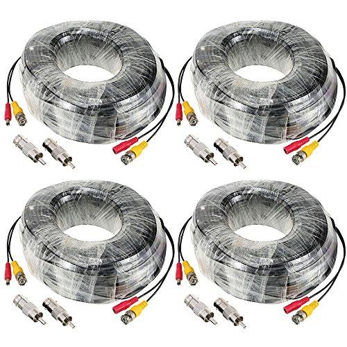 1 8-auf-cinch Männlich (KKmoon Verlängerung Kabel DC Power Supply Kabel 98ft BNC Stecker Video macht siamesische Gleichstromkabels 4pcs/Menge für CCTV Kamera DVR)