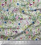Soimoi Grau Georgette Viskose Stoff Blätter & Primula