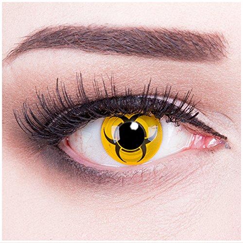 Meralens mehrfarbige Kontaktlinsen, Biohazard mit Pflegemittel ohne Stärke, 1er Pack (1 x 2 - Kostüm Biohazard Halloween