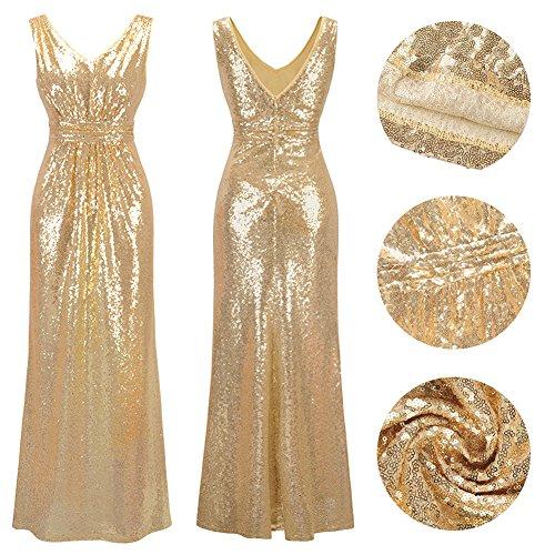 Frauen V-Ausschnitt Warp Kleid Night Out Kleid Partei lange Pailletten Kleid Gold M - 6