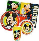alles-meine.de GmbH 4 tlg. Geschirrset -  Disney Mickey Mouse  - Incl. Name - aus Melamin - Trin..