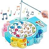 HCHENG Juego de Pesca de Mesa Juguete Musical Educativo Peces Rotativos Coloridos Juguetes Eléctricos para Niños Niñas 3 4 5